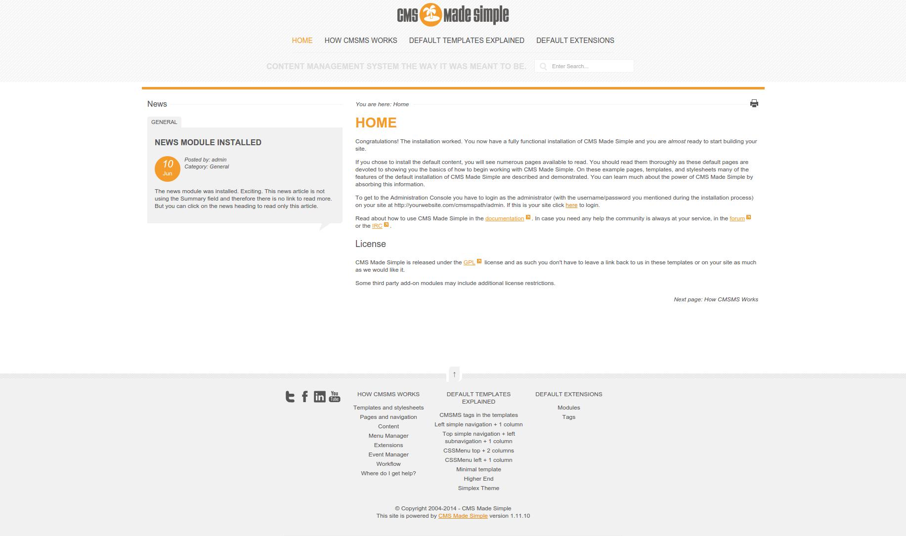 Screenshot of Davelandia CMSMS template home page