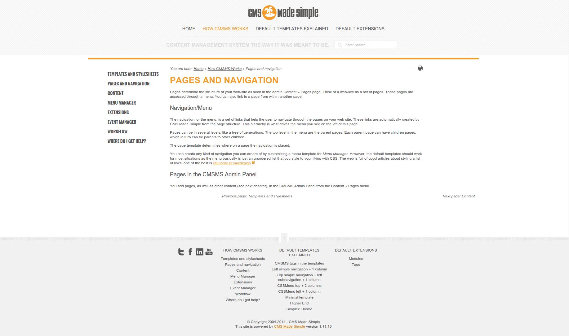 Screenshot of Davelandia CMSMS template content page
